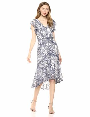 Taylor Dresses Taylor Women's Ruffle Sleeve V Neck Lace Dress