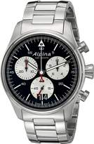 Alpina Men's AL-372BS4S6B Startimer Pilot Chronograph Big Date Analog Display Swiss Quartz Silver-Tone Watch