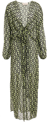 Adriana Degreas Tie-front Printed Silk Crepe De Chine Coverup