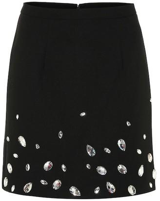 Christopher Kane Crystal-embellished crepe miniskirt