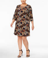 Jessica Howard Plus Size Printed Lace-Up Dress