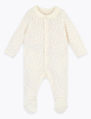 Marks and Spencer Cotton Rich Velour Spotted Sleepsuit (7lbs-12 Mths)