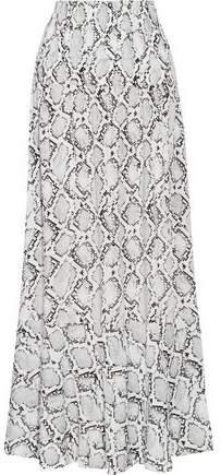 Snake-print Crepe De Chine Maxi Skirt