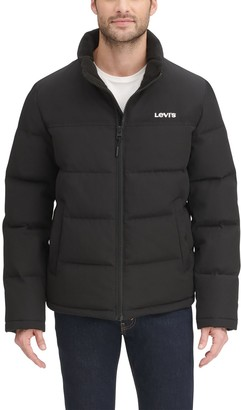 Levi's Men's Arctic Cloth Stand Collar Logo Puffer Jacket