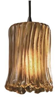 Justice Design Group Veneto Luce - Mini 1-Light Pendant in , Cylinder w/ Rippled Rim Design Group Base Finish: Dark Bronze, Shade Color: Amber