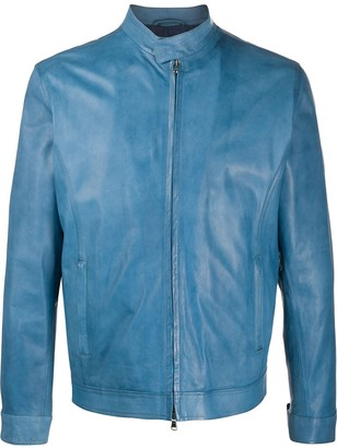 Barba Fitted Leather Jacket