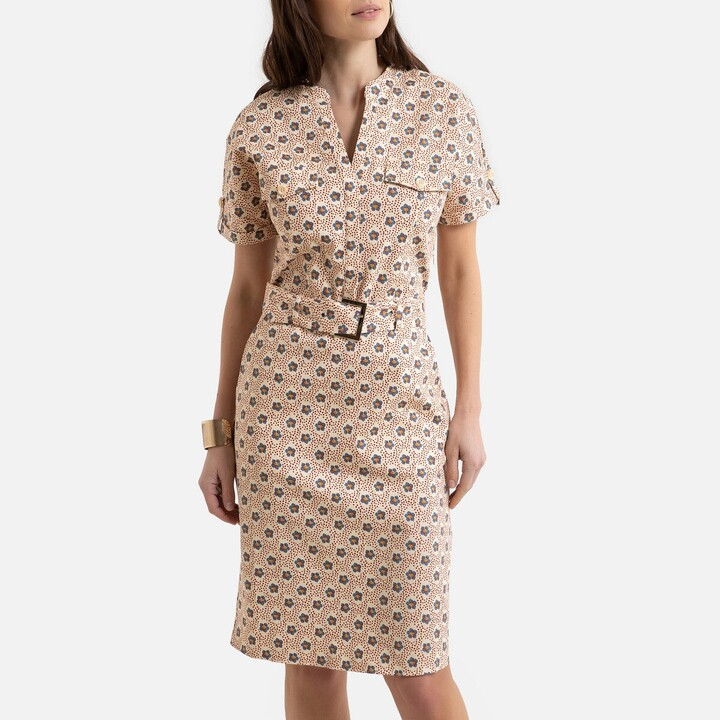 Anne Weyburn Printed Cotton Shift Dress with Short Sleeves