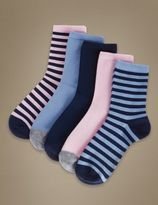 Marks and Spencer 5 Pair Pack Cotton Rich Ankle High Assorted Socks