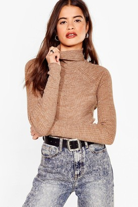 Nasty Gal Womens Roll With It Ribbed Turtleneck Jumper - Beige - S