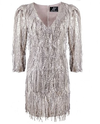 Angelika Jozefczyk Champagne Dress With Fringes