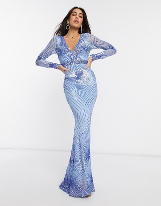 Goddiva long sleeved sequin maxi dress in blue