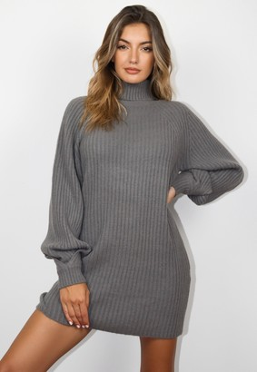 Missguided Grey Roll Neck Tuck Sleeve Knit Jumper Dress