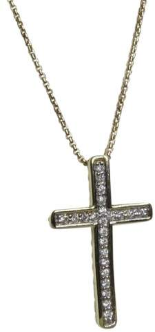 David Yurman Petite 18K Yellow Gold with 0.20ct Diamond Cross Pendant Necklace