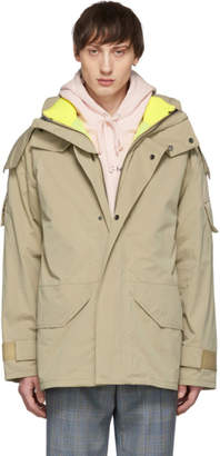 Yves Salomon Beige and Yellow Three-in-One Army Cotton Bachette Jacket