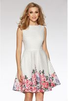 Quiz Cream And Pink Flower Print Hem Skater Dress