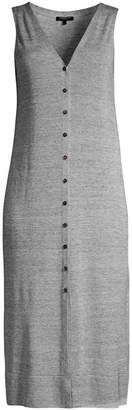 Lafayette 148 New York Button Front Linen Blend Knit Dress