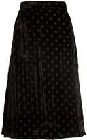 House of Holland A-line polka-dot velvet skirt