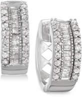 Macy's Diamond Huggy Hoop Earrings (1/4 ct. t.w.) in Sterling Silver