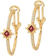 Judith Ripka 14K Gold Gemstone & Diamond HoopEarrings