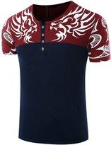 uxcell® Men Split Neck Short Sleeves Novelty Prints Tee Shirt M