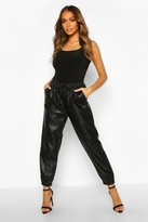Thumbnail for your product : boohoo Leather Look Seam Front Joggers