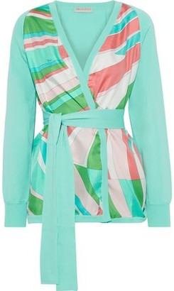 Emilio Pucci Belted Printed Crepe De Chine-paneled Cotton Cardigan
