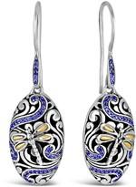 Sterling Silver & 18K Gold Sweet Dragonfly CZ Embellished Earrings