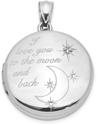 Sterling Silver 20mm Diamond I Love You To The Moon and Back Round Locket with 18-inch Cable Chain By Versil