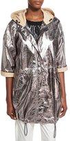Brunello Cucinelli Leather 3/4-Sleeve Anorak Jacket, Gray