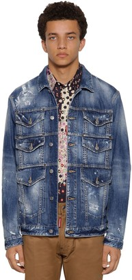 DSQUARED2 Multi Pocket Stretch Cotton Denim Jacket
