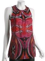 red geometric printed mesh halter tie top