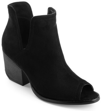 Brinley Co. Womens Faux Suede Side-slit Peep-toe Ankle Booties