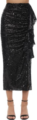 In The Mood For Love High Waist Sequined Midi Skirt