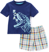 Buster Brown Navy Dinosaur Tee & Plaid Shorts - Infant & Toddler