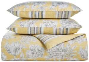 Charter Club Damask Designs 300-Thread Count Cotton Outline Botanical 3-Pc. Reversible King Duvet Set, Created for Macy's Bedding