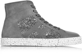 Hogan R141 Pewter Leather and Suede with sequins Hgh-top Women's Sneakers