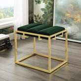 Nicole Miller Kylen Channel Tufted Ottoman Upholstery Color: Green, Leg Color: Gold