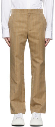 System Beige Herringbone Stripe Trousers