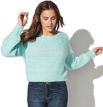 Juniors' Vylette Puff Sleeve Crewneck Sweater