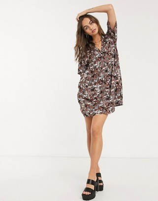 Monki Nelly safari animal print mini shirt dress in brown