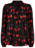 Alexander McQueen Petal Print Silk Blouse