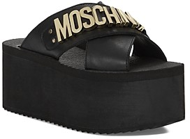 Moschino Women's Logo Platform Slide Sandals
