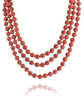 Bling Jewelry Orange Red Coral Color Beads Endless Layering Strand Necklace 69 Inch