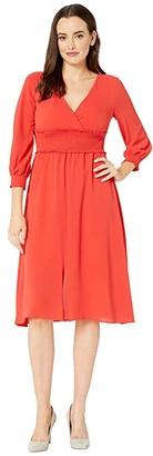 Adrianna Papell Smocked Midi 3/4 Sleeve Dress (Burnt Orange) Women's Dress
