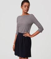 LOFT Petite Pocket Scalloped Skirt