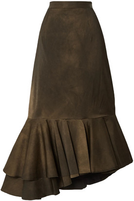 Brock Collection Asymmetric Pleated Matte-satin Skirt