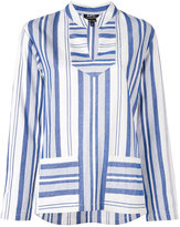 A.P.C. multi stripe slit neck top - women - Cotton - 34