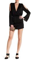 Lucca Couture V-Neck Long Sleeve Cold Shoulder Romper