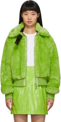 Kirin Green Faux-Fur Smiley Jacket