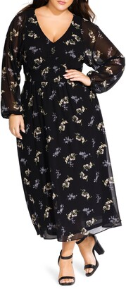 City Chic Gentle Floral Long Sleeve Dress